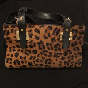💖Topshop Leather and Calf Hair Leopard bag